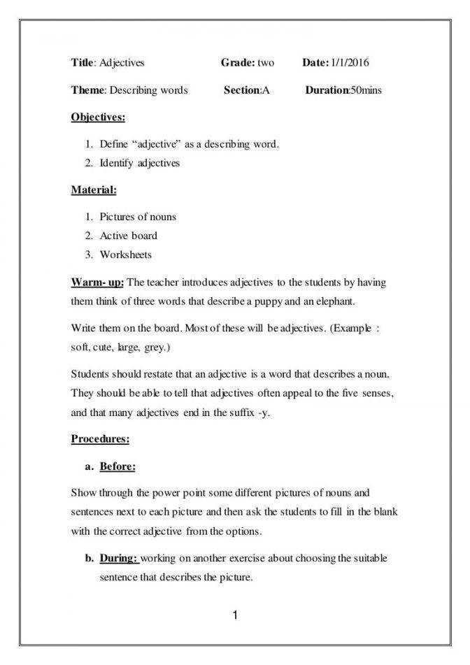Lesson Plan Adjectives Lessonplanadjectives Thumbn Writing Lesson Plans For 4th Grade Lesson Plan Medium
