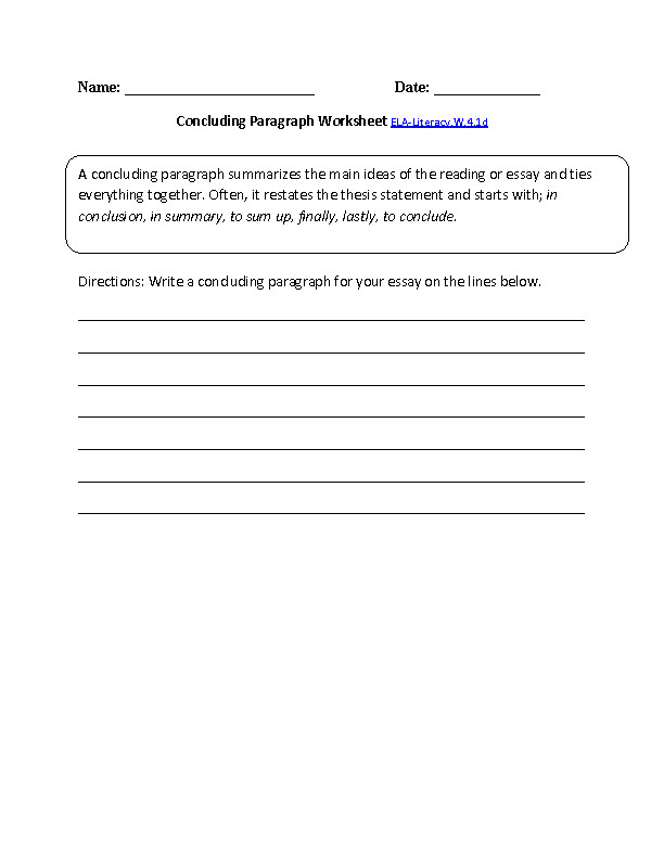 Concluding Paragraph Worksheet ELA Literacy W 4 1d Writing Worksheet