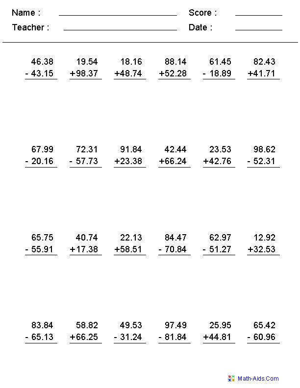 Adding and Subtracting With Decimals Worksheets This worksheet was built to aligns to mon Core Standard Decimals WorksheetsGrade 5 Math Worksheets5th