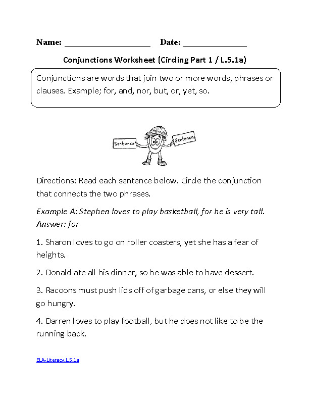 Conjunctions Worksheet 1 ELA Literacy L 5 1a Language Worksheet