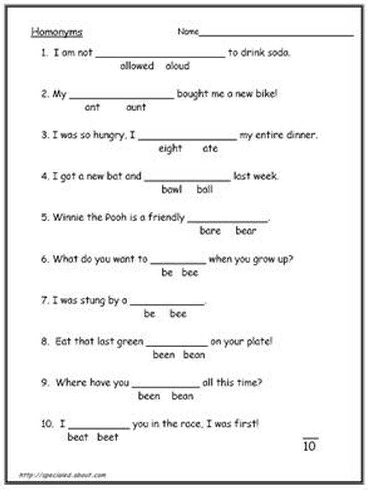 What Is the Difference Between Homonyms and Homophones Reading WorksheetsLanguage Arts Worksheets3rd Grade