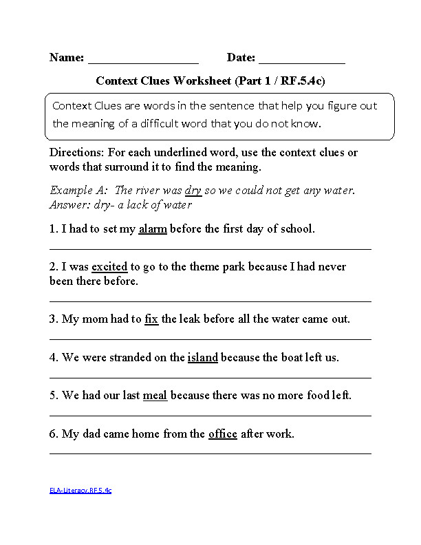 5th Grade Language Arts Worksheets