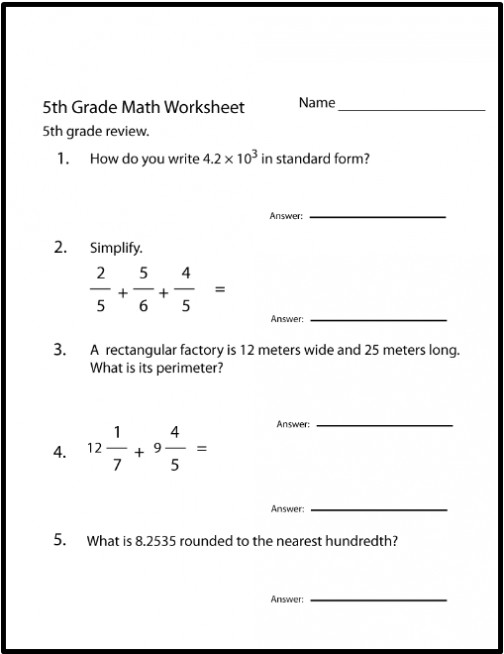5th Grade Math Worksheets With Answers Archives Printable fice