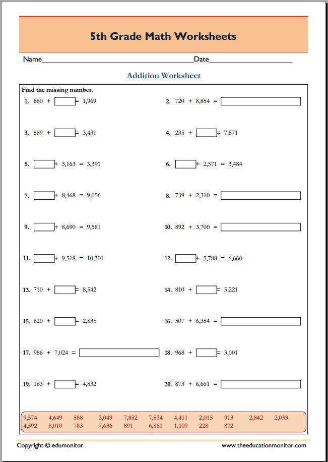 5th Grade Math Worksheets – PDF Printables