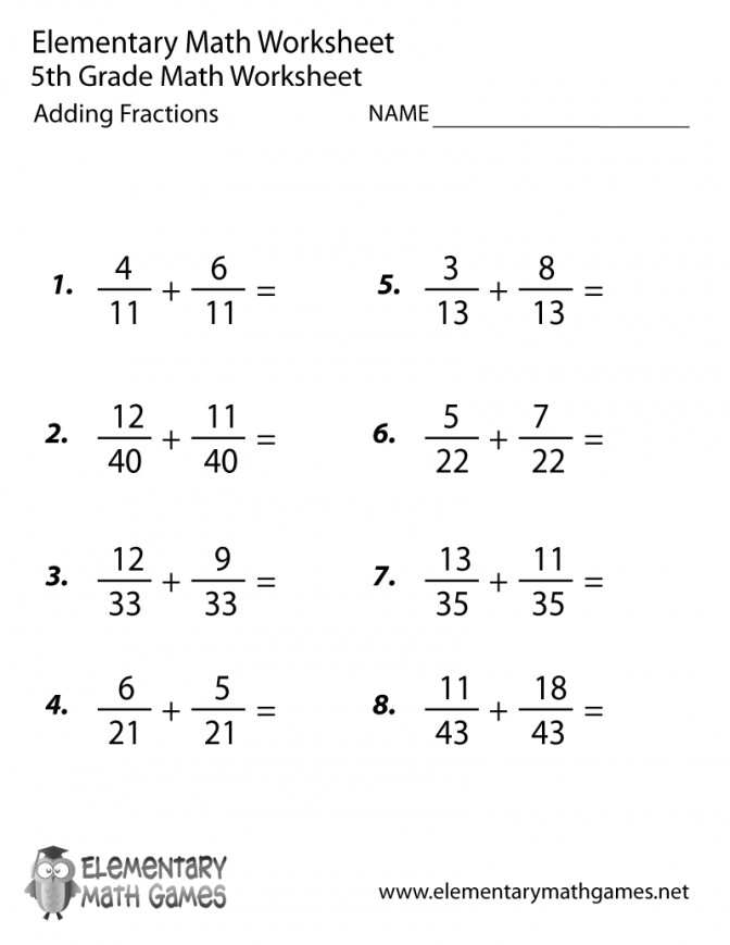 Fifth Grade Adding Fractions Worksheet Six Math Worksheets Pdf 5th Prin Six Grade Math Worksheets Worksheet
