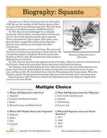 Thanksgiving Fifth Grade History prehension Worksheets Squanto Biography