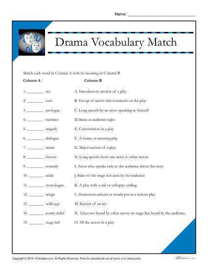 Printable Drama Vocabulary Match Worksheet