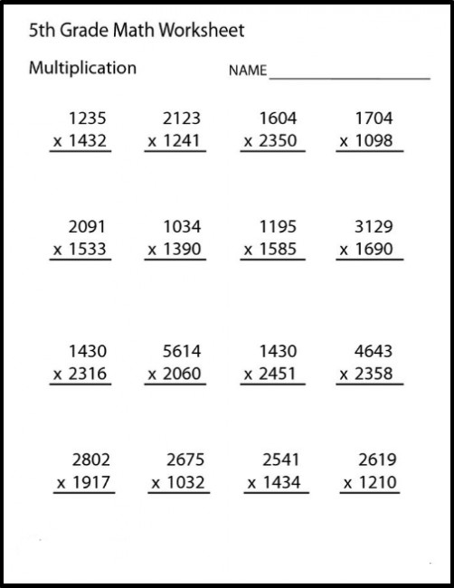 Printable 5th Grade Math Worksheets for Problems Practice