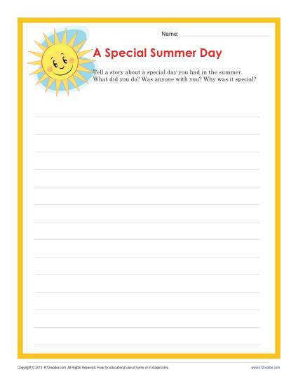 4th and 5th Grade Writing Prompt Summer Day