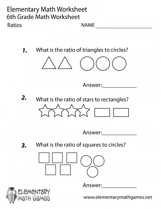 Sixth Grade Ratios Worksheet 6th Math Worksheets Pdf Prin 6th Math Worksheets Worksheet Medium