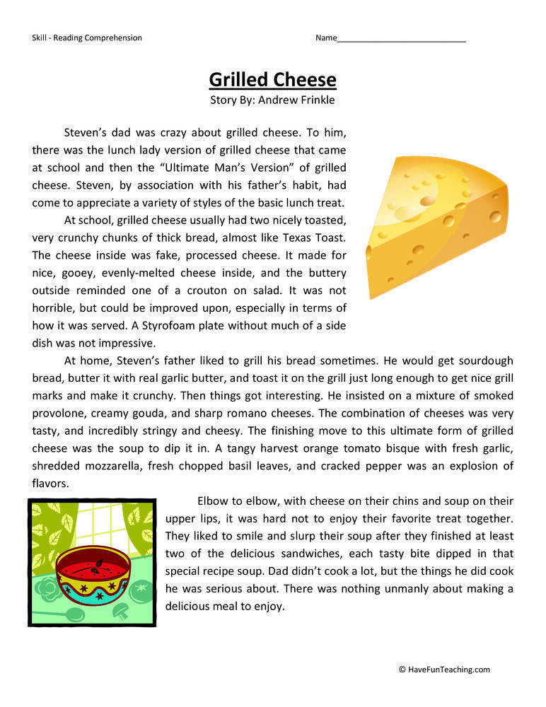 Grilled Cheese – Reading prehension Worksheet