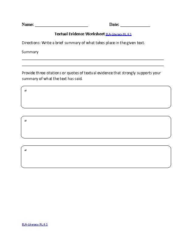 Textual Evidence Worksheet ELA Literacy RL 6 1 Reading Literature Worksheet