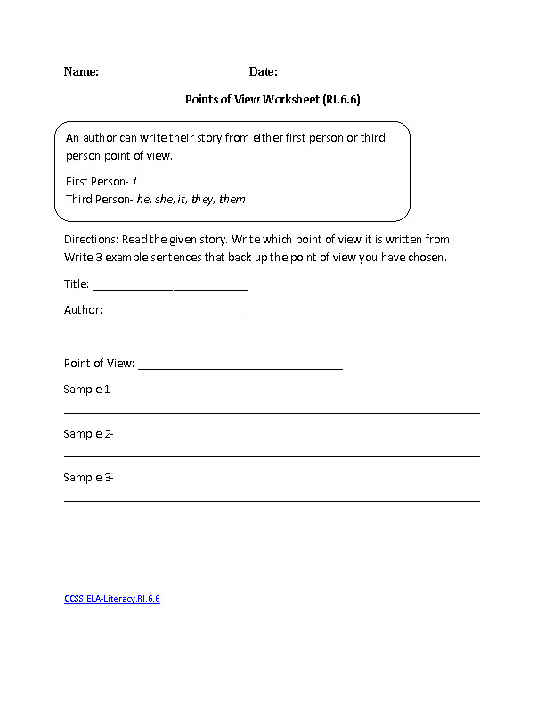 Points of View ELA Literacy RI 6 6 Reading Informational Text Worksheet