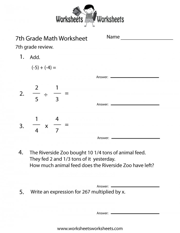 Math Worksheets For 7th Grade shot Math Worksheets For 7th Grade Seventh Practice Worksheet Printable Capture