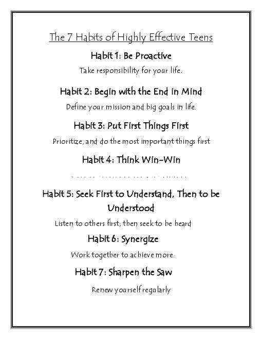 extract of 7 habits of effective The 7 habits of highly effective people, first published in 1989, is a business and self-help book written by stephen covey covey presents an approach to being effective in attaining goals by aligning oneself to what he calls true north principles based on a character ethic that he presents as universal and timeless.