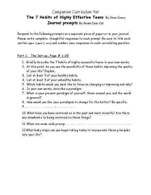 All Worksheets 7 habits of highly effective teenagers worksheets 7 habits of
