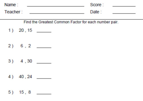 All 6th Grade line Math Worksheets