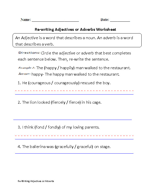 Adverb worksheets 7th grade