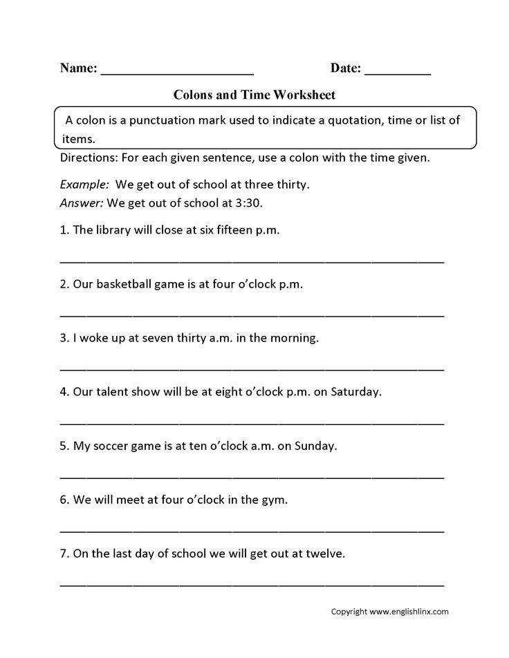 Colon Worksheets Grammar