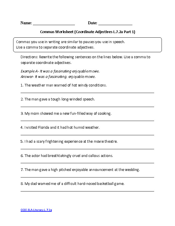 7th Grade Grammar Worksheets | Homeschooldressage.com