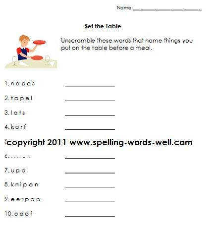 Set the Table first grade language arts worksheet