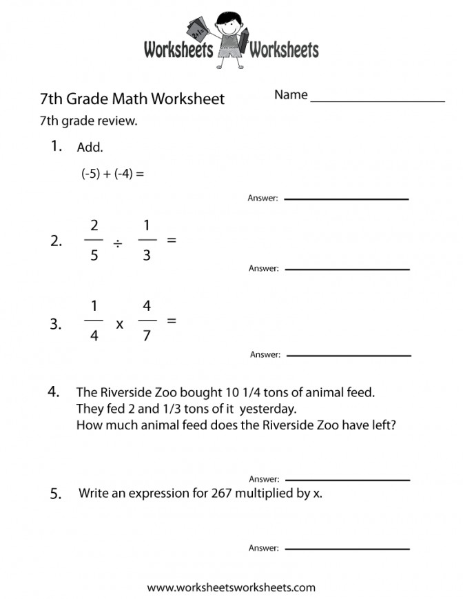7th Grade Math Worksheets Free Printable For Teachers With Answers Seventh Practice Work Math Worksheet For