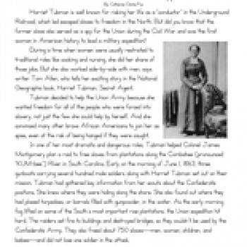 Eighth Grade Reading prehension Worksheet Harriet Tubman Civil War Spy