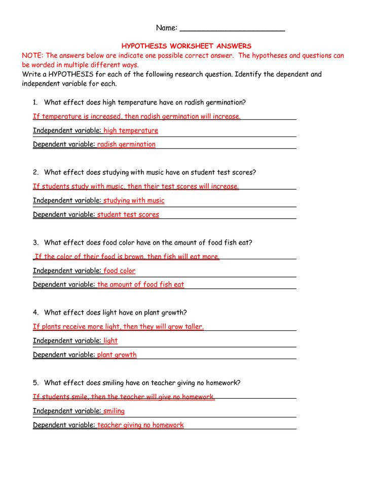 Identify Independent And Dependent Variables Worksheet 34