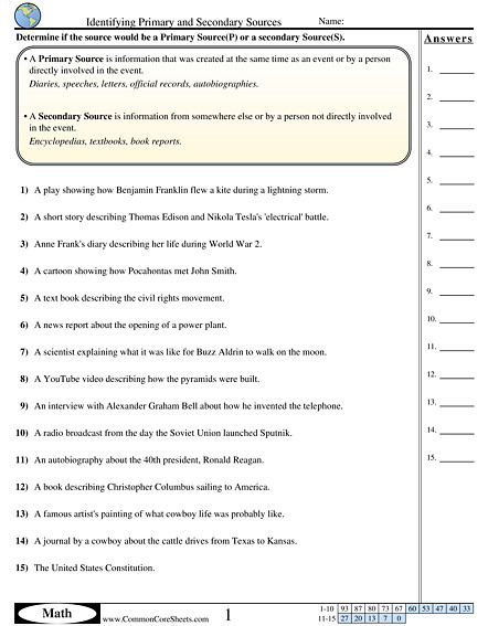 Each worksheet has 15 problems determining if an object is a primary or a secondary source