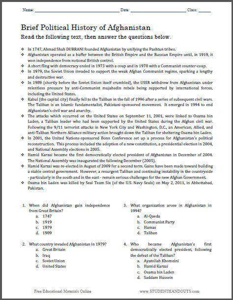 7th Grade social Studies Worksheets