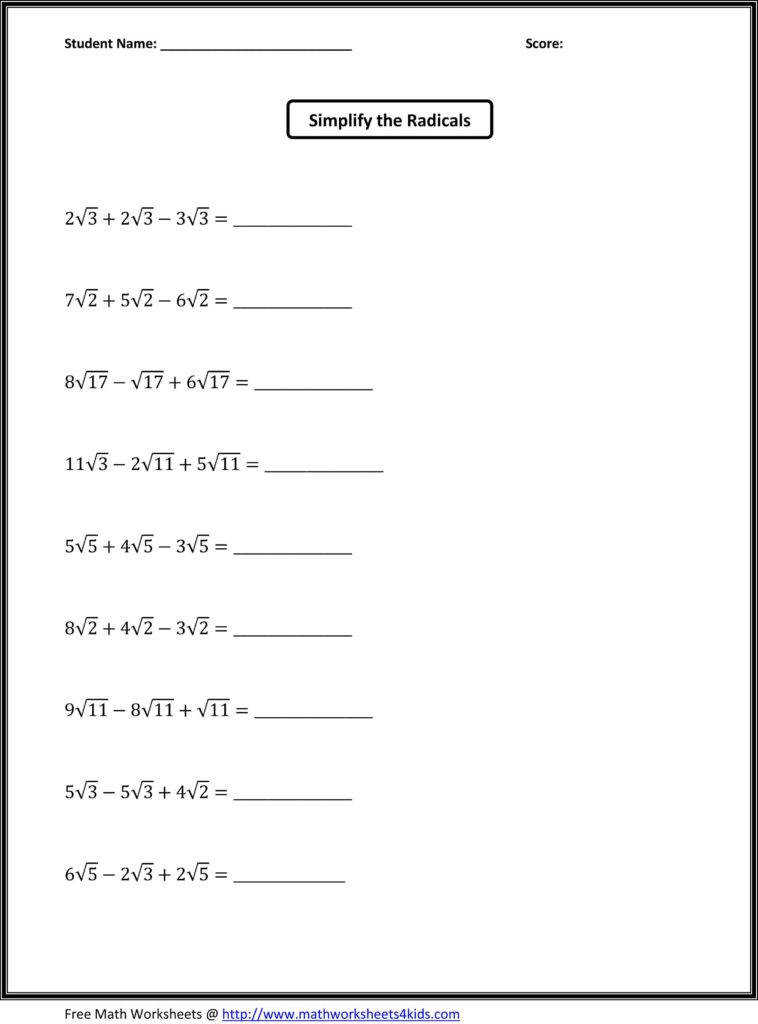 Math Worksheets for 8th Grade Algebra 1 and 8th Grade Math Equations with Answers Jennarocca