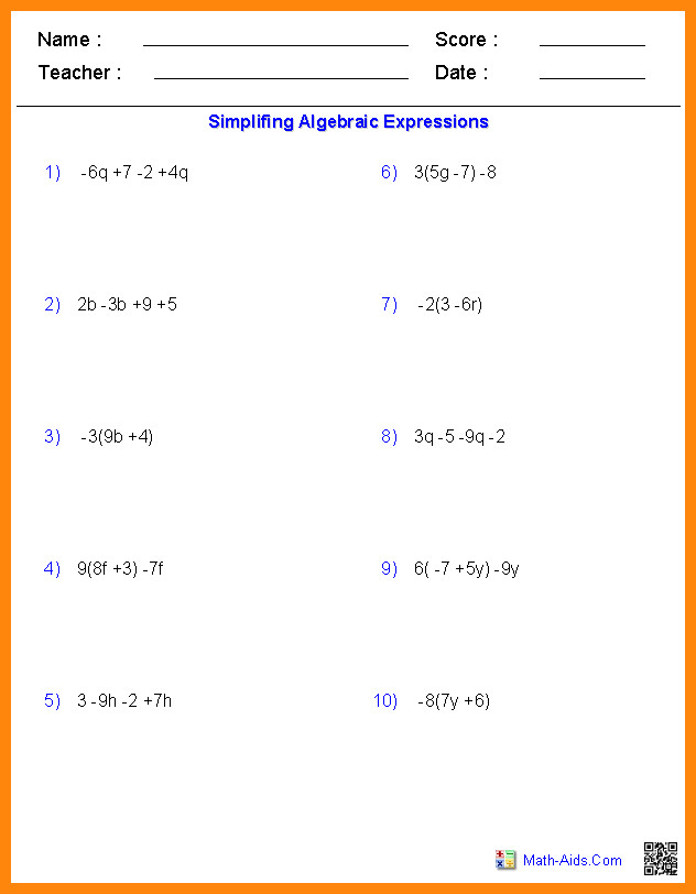 8th grade algebra worksheetse algebra simplifing expressions worksheets