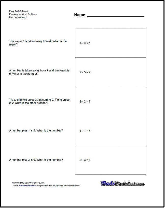Add And Subtract Pre Algebra Word Problems That Use Standard Math Free Worksheets 8th Grade C2ae077acd69c22ddd902c59fa8