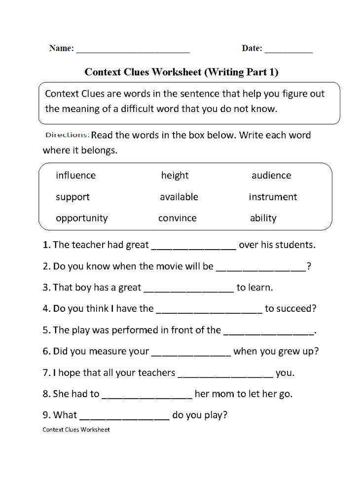 17 Best ideas about Context Clues Worksheets on Pinterest