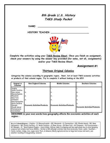 8th Grade U S History Task Study Packet 8th Grade Worksheet