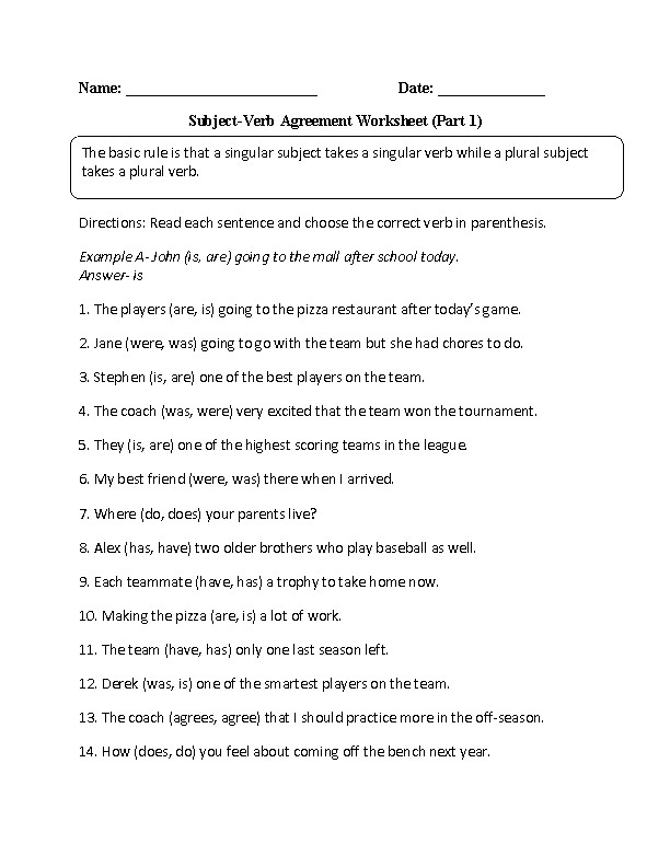 The basic rule is that a singular subject takes a singular verb while a plural subject takes a plural verb These Subject Verb Agreement worksheets are for