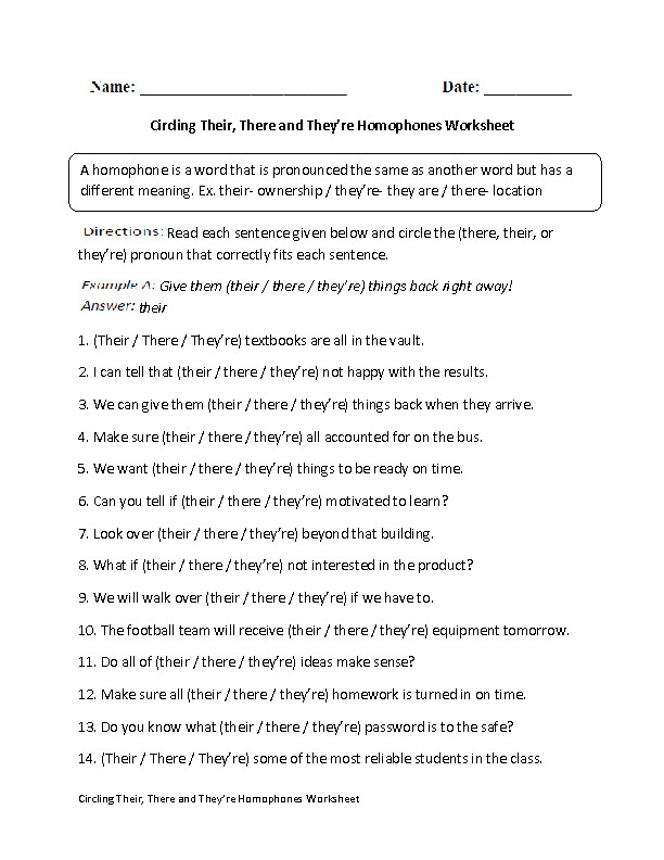 Circling Their There and They re Homophones Worksheet