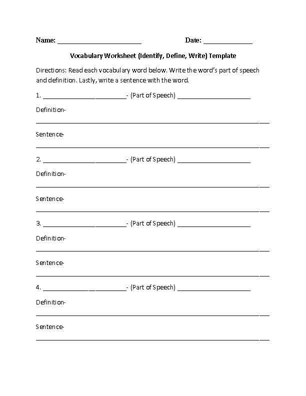 Vocabulary Worksheets Template Part 1