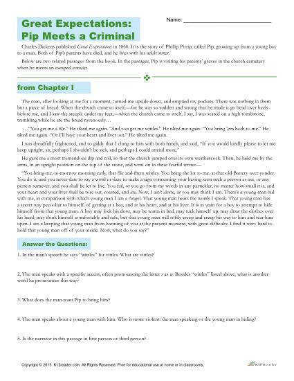 Great Expectations Reading prehension Worksheet