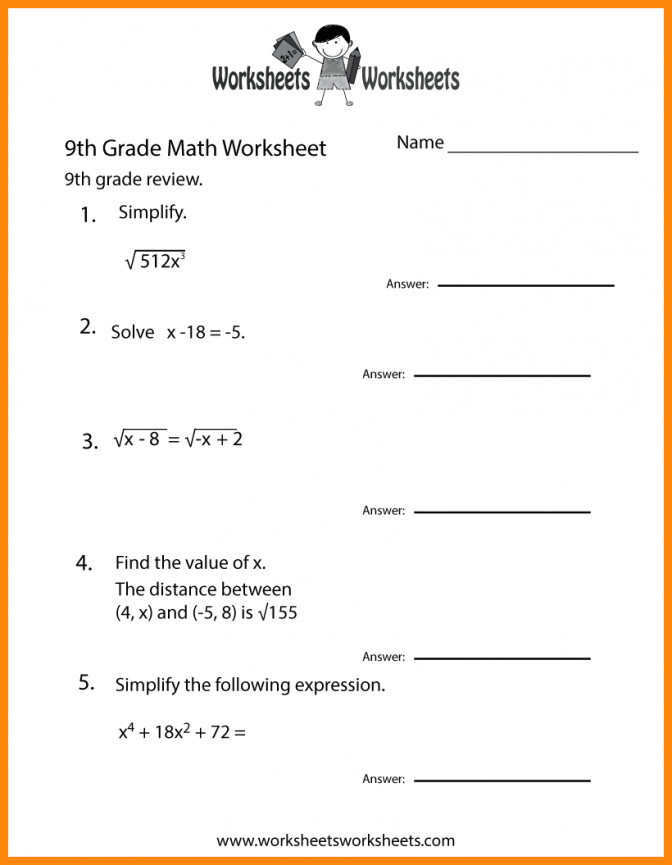 9 9th Grade English Worksheets Math Cover For Graders Ninth Practice Worksheet Prin Math Worksheets For