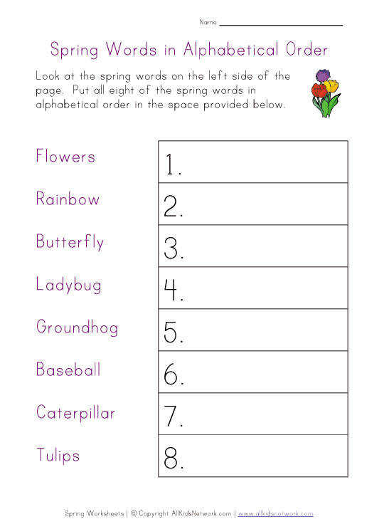 spring worksheet alphabetical order