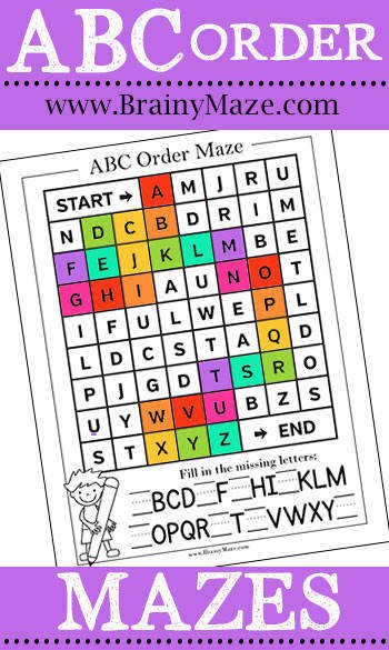 ABC Order Worksheets Mazes Games and Activities Free alphabetical order worksheets for kids