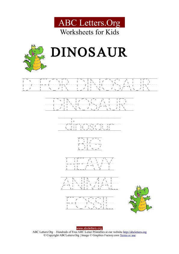 ABC Tracing Letter Worksheets Dinosaur