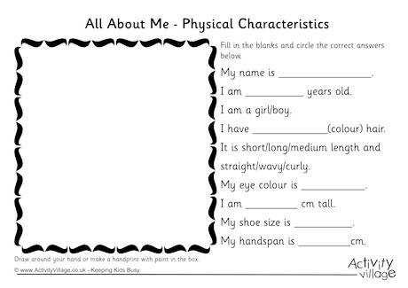 all about me physical characteristics worksheet 460 2