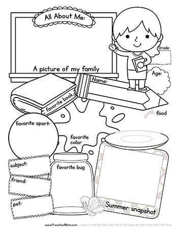 All About Me Back to School Worksheet Boy and Girl versions