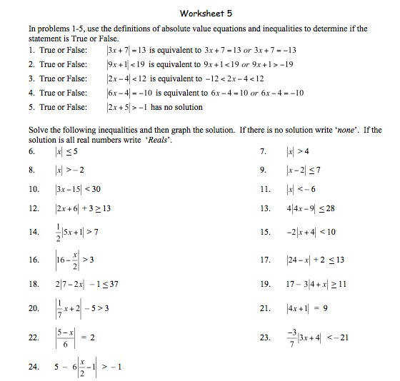 Absolute Value Practice Worksheets