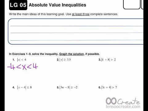 LG 05 absolute value inequalities WORKSHEET ANSWER KEY