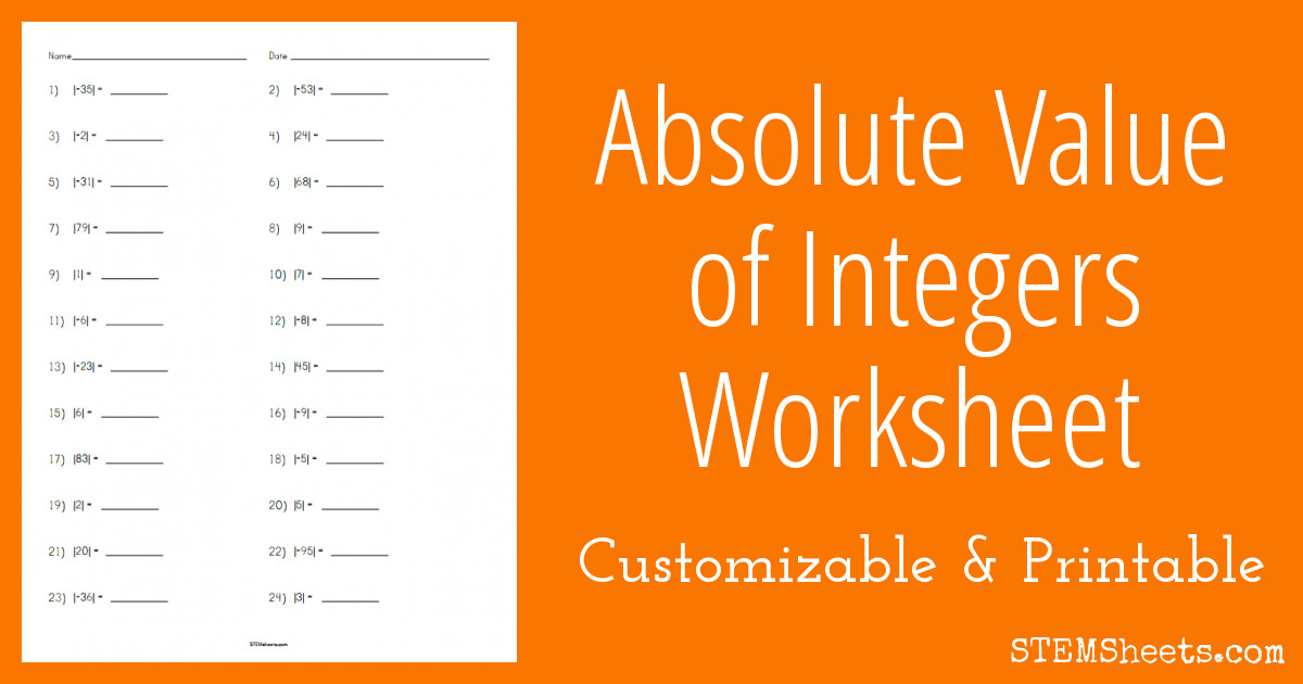 integer absolute value worksheet