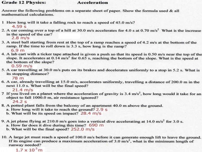 Velocity And Acceleration Calculation Worksheet Answers Worksheets