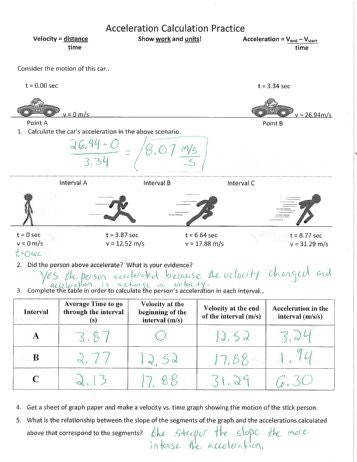 Velocity and acceleration calculation worksheet answers snapshot Velocity And Acceleration Calculation Worksheet Answers Practice Answer Key
